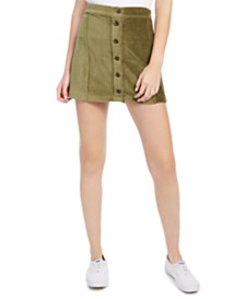 Rewash Juniors' Corduroy Button-Front Skirt