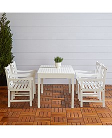 Bradley Outdoor 5-Piece Wood Patio Dining Set