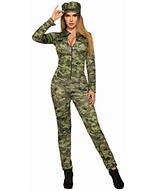 BuySeasons Women's Camo Jumpsuit And Hat Adult Costume