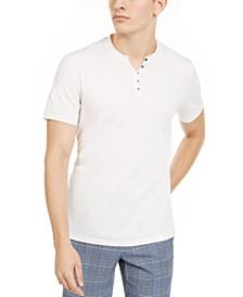 INC Men's Textured Split-Neck T-Shirt, Created for Macy's