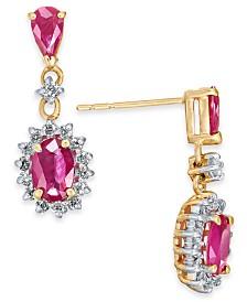 Certified Ruby (1-1/5 ct. t.w.) & Diamond (1/3 ct. t.w.) Drop Earrings in 14k Gold
