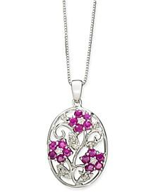 "Certified Ruby (1-1/2 ct. t.w.) & Diamond (1/8 ct. t.w.) Flower 18"" Pendant Necklace in Sterling Silver"