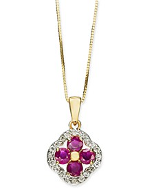 "Certified Ruby (1-1/10 ct. t.w.) & Diamond (1/5 ct. t.w.) Clover 18"" Pendant Necklace in 14k Gold"
