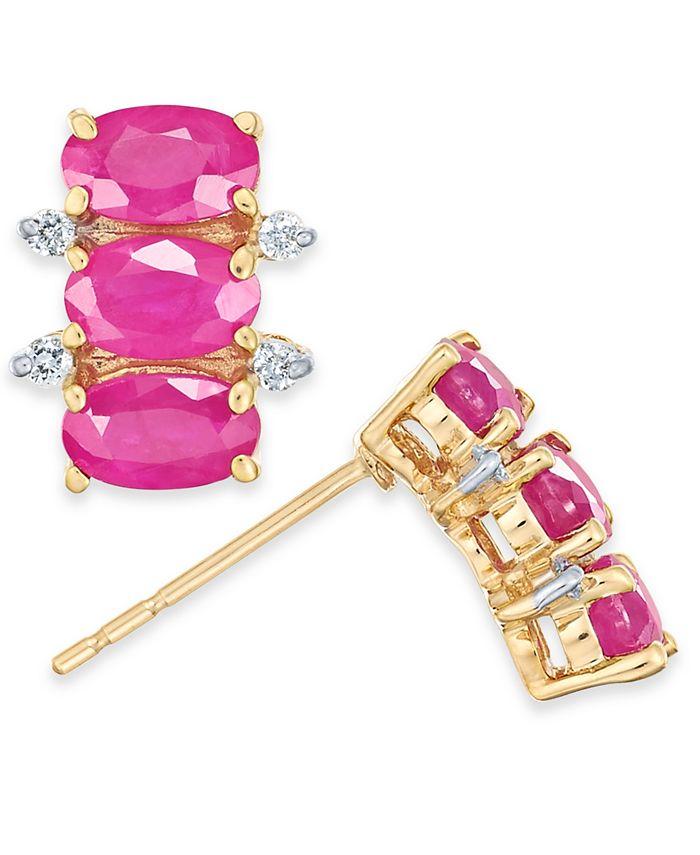 Macy's - Certified Ruby (2-1/10 ct. t.w.) & Diamond (1/20 ct. t.w.) Stud Earrings in 14k Gold