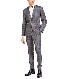 Men's Slim-Fit Performance Stretch Gray Plaid Suit