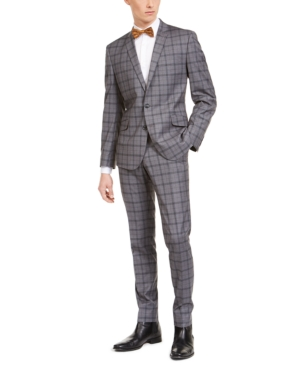 1920s Mens Suits | Gatsby, Gangster, Peaky Blinders Billy London Mens Slim-Fit Performance Stretch Gray Plaid Suit $74.99 AT vintagedancer.com