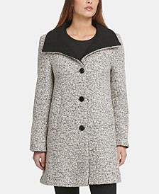DKNY Petite Bouclé Single-Breasted Coat, Created For Macy's