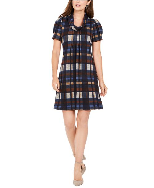 Jessica Howard Petite Plaid Puff-Sleeve Shift Dress
