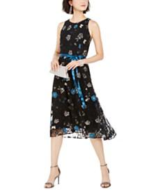 Tahari ASL Sequined & Embroidered Floral Midi Dress
