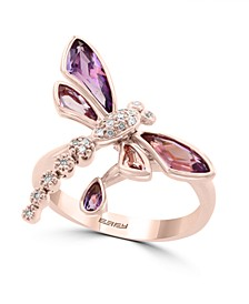 EFFY® Amethyst(1-3/8 ct. t.w.) & Pink Amethyst(1/10 ct. t.w.) & Diamond Accent Butterfly Statement Ring in 14k Rose Gold