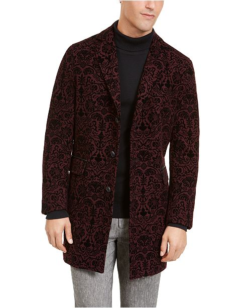 INC International Concepts INC Men's Flocked Ornamental Topcoat, Created For Macy's