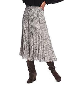 Pleated Snake-Print Midi Skirt