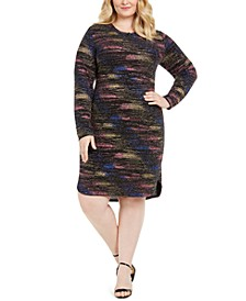 Plus Size Long-Sleeve Metallic Sheath Dress