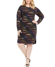 B Darlin Plus Size Long-Sleeve Metallic Sheath Dress