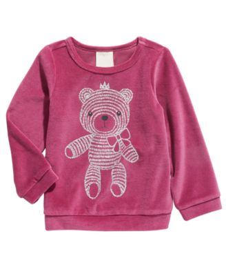 Baby Girls Bear Velour Top, Created For Macy's