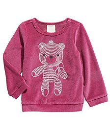 Baby Girls Teddy Bear Velour Tee, Created for Macy's