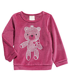 First Impressions Baby Girls Bear Velour Top, Created For Macy's