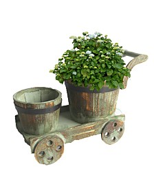 Gardenised 2 Barrel Planters on Cart