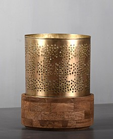 "Jaali Hurricane 3"" Dia Candle Holder Stand in Brushed Retro Rich Look"