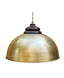 Dom Retro Large Pendant with Accent Solid Wood Hand Carved Shade Holder in Brushed Rich Look Lacquered Finish