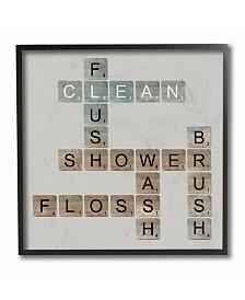 """Stupell Industries Scrabble Bathroom Illustration Framed Giclee Art, 12"""" x 12"""""""