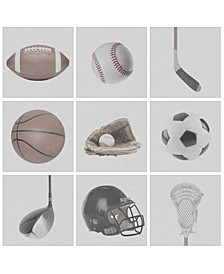 "Greyscale Sports Gear 9 Piece Canvas Wall Art Set, 12"" x 12"""