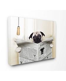 "Stupell Industries Pug Reading Newspaper in Bathroom Canvas Wall Art, 16"" x 20"""