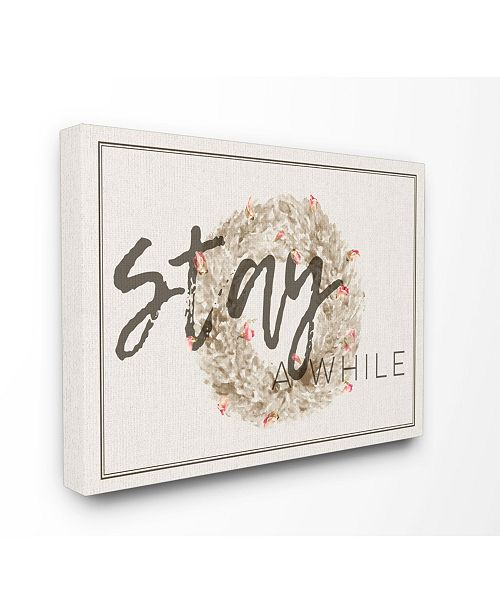 """Stupell Industries Stay A While Strawflower Wreath Canvas Wall Art, 16"""" x 20"""""""
