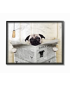 "Stupell Industries Pug Reading Newspaper in Bathroom Framed Giclee Art, 11"" x 14"""