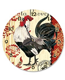 """French Kitchen Rooster Vanity Clock, 12"""" x 12"""""""