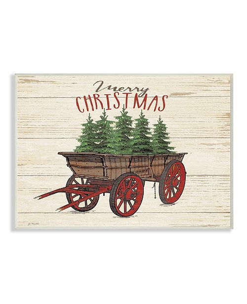 "Stupell Industries Merry Christmas Tree Wagon Wall Plaque Art, 12.5"" x 18.5"""