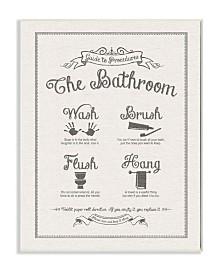 """Stupell Industries Guide To Bathroom Procedures Linen Look Wall Plaque Art, 12.5"""" x 18.5"""""""