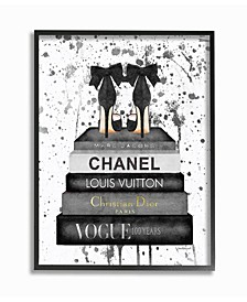 """Glam Fashion Book Stack Gray Bow Pump Heels Ink Framed Giclee Art, 11"""" x 14"""""""