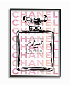 "Stupell Industries Glam Perfume Bottle with Words Pink Black Framed Giclee Art, 11"" x 14"""