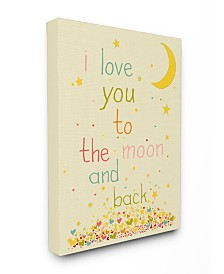"""Stupell Industries Home Decor I Love You To The Moon and Back Canvas Wall Art, 16"""" x 20"""""""