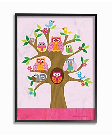 """Stupell Industries The Kids Room Owls, Birds and Squirrel in A Tree Framed Giclee Art, 11"""" x 14"""""""