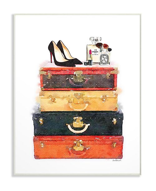 """Stupell Industries Luggage Stack Shoes and Makeup Wall Plaque Art, 10"""" x 15"""""""