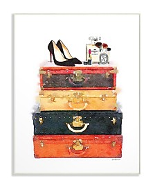 "Stupell Industries Luggage Stack Shoes and Makeup Wall Plaque Art, 12.5"" x 18.5"""