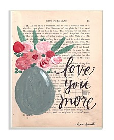 """Stupell Industries Love You More Painterly Book Page Wall Plaque Art, 12.5"""" x 18.5"""""""