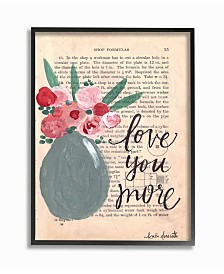 """Stupell Industries Love You More Painterly Book Page Framed Giclee Art, 16"""" x 20"""""""