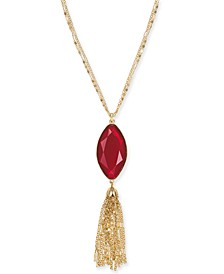 "Long Pendant Stone and Tassel Necklace, 34"" + 3"" extender, Created for Macy's"