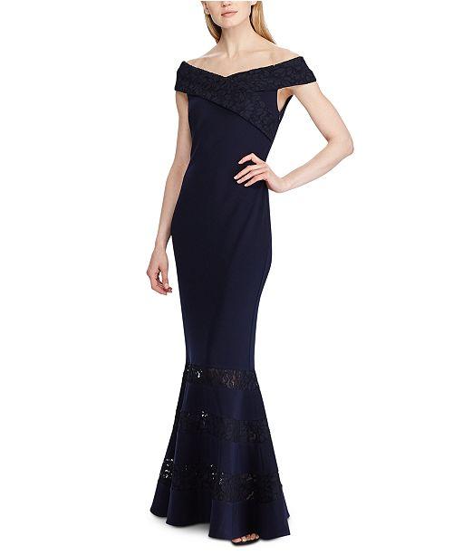 Lauren Ralph Lauren Lace-Panel Jersey Gown