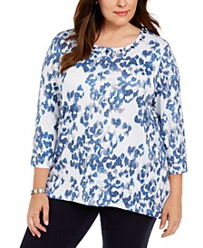 Plus Size Sapphire Skies Animal Shimmer Printed Top
