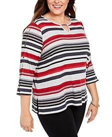 Plus Size Well Red Striped Keyhole Top
