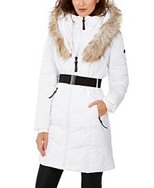 Chevron Belted Faux-Fur Hooded Puffer Coat