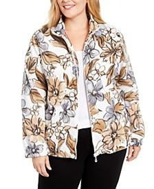 Plus Size Classics Floral-Print Fleece Zip-Front Jacket