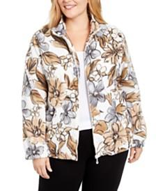 Alfred Dunner Plus Size Classics Floral-Print Fleece Zip-Front Jacket