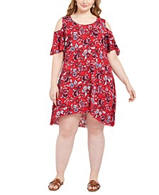 Petite Plus Size Printed Cold-Shoulder Dress