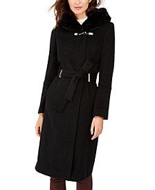 Calvin Klein Faux-Fur-Trim Belted Hooded Coat