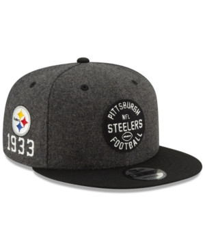 New Era Pittsburgh Steelers On-field Sideline Home 9fifty Cap In Charcoal/black